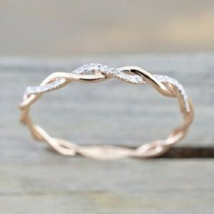 New Twisted Pave Crystals Gold tone Ring 8